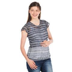 Topje korte mouwen voor tijdens de zwangerschap in voile met motif