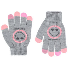 Gants en tricot gris chiné print Smiley avec sequins roses
