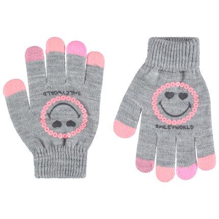 Gemêleerde grijze handschoenen van tricot met Smiley-print en roze lovertjes