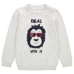 Pull en tricot avec animal printé sur le devant