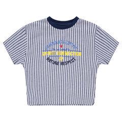 Tee-shirt manches courtes à rayures verticales avec inscriptions printées