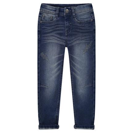 Junior - Jeans en molleton effet used