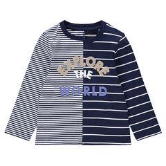 T-shirt met lange mouwen en strepen met bouclé-opschrift