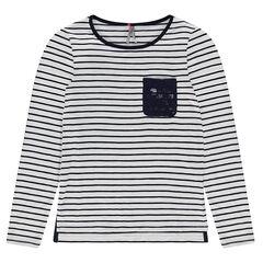 Junior - Tee-shirt manches longues marinière avec poche dentelle