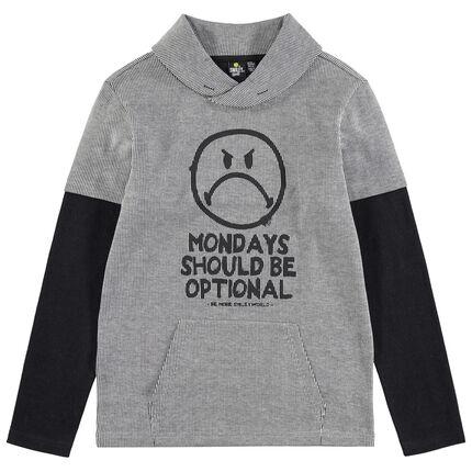 Junior - T-shirt met lange mouwen en 2-in-1 effect met Smiley-print