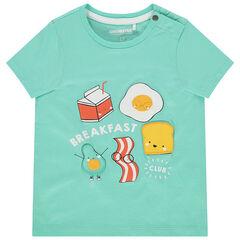 T-shirt manches courtes en coton bio à print reliéfé