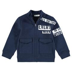 Vest van molton met ritssluiting, print met tekst en klepzakken