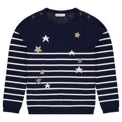 Junior - Pull en tricot style marinière avec étoiles dorées