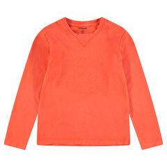 Junior - T-shirt met lange mouwen van jerseystof en geborduurde tijger aan de voorzijde