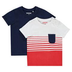 Set met 2 T-shirts van effen jerseystof met korte mouwen