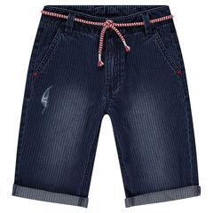 Junior - Bermuda en jeans rayé effet used avec ceinture amovible