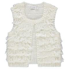 Vest zonder mouwen van tricot met franjes