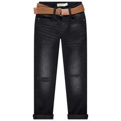 Jeans effet used et crinkle avec ceinture amovible
