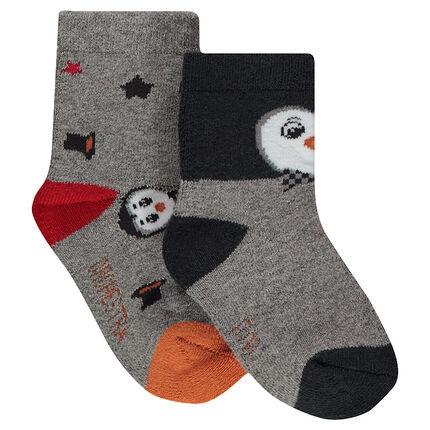 Lot de 2 paires de chaussettes assorties avec motif pingouins en jacquard