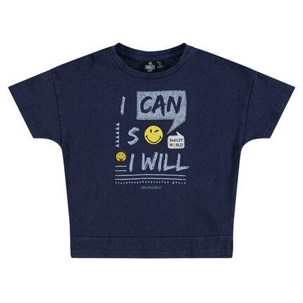 Tee-shirt manches courtes avec inscriptions et badges ©Smiley