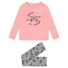 Junior - Pyjama van jerseystof in twee kleuren met print met vlinders