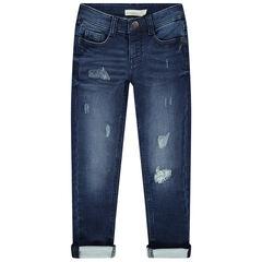 Jeans met used en crinkle effect en slijtage op de broekspijpen