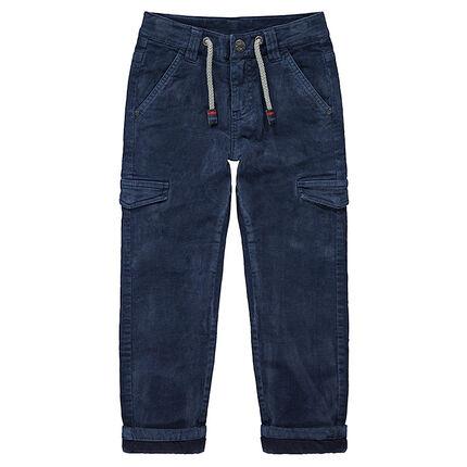 Pantalon en velours doublé jersey avec poches à rabat