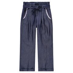 Junior - Driekwartbroek van chambray met zakken met biezen