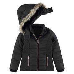 Junior - Doudoune matelassée avec doublure sherpa et capuche amovible
