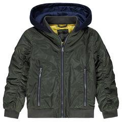 Kaki jasje met brede zakken met ritssluiting en kap met print van molton