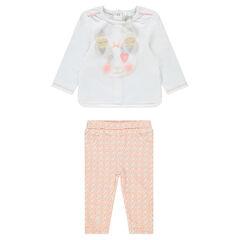 "Ensemble van T-shirt met pandaprint en jegging met bloemenprint ""all-over"""