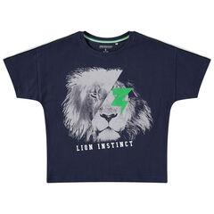 T-shirt met korte mouwen van jerseystof met leeuwenprint