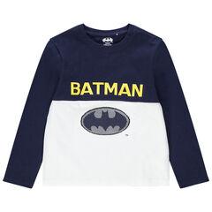 T-shirt manches longues en coton bio logo Warner Batman en sequins magiques