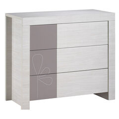 Commode Opale Taupe met decor - 3 laden