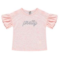 T-shirt met korte pofmouwen en opdruk met boodschap