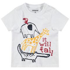 Tee-shirt manches courtes en jersey avec animaux de la jungle printés