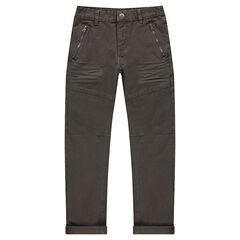 Pantalon kaki en coton surteint avec poches zippées