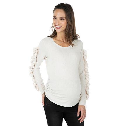 Pull de grossesse en tricot avec manches volantées
