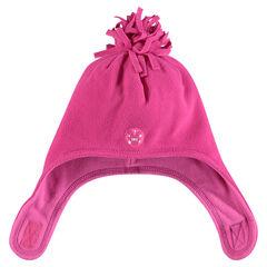 Bonnet micropolaire avec pompon et cache-oreilles