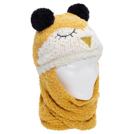 Muts/sjaal van tricot met vogelmotief met oren in de vorm van pompons