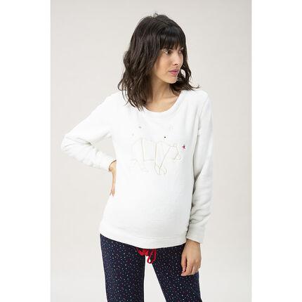 Sweat homewear de grossesse à ours brodé