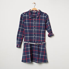 Junior - Robe manches longues à carreaux avec ceinture pailletée