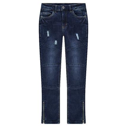 Junior - Jeans met used en crinkle effect, inzetstukken en scheuren