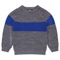 Junior - Trui van Ottomaanse tricot met contrasterende banden