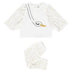 Pyjama van velours met decoratief zwanenmotief met vleugels en print met stippen
