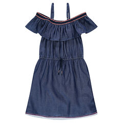 Junior - Robe en chambray à fines bretelles et volant