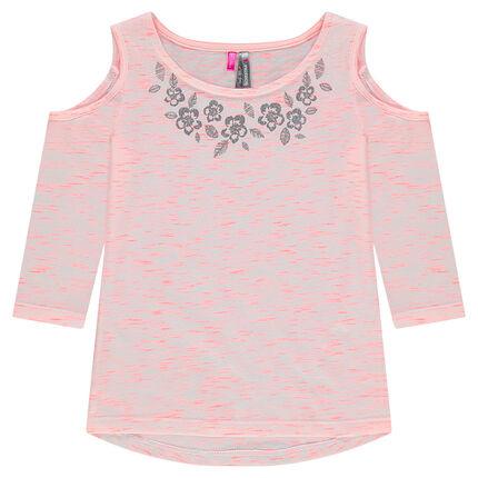 Tee-shirt manches 3/4 avec épaules ajourées et fleurs argentées