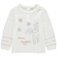 Trui van rupstricot met borduurwerk in kerststijl met goud en zilver