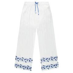 Junior - Pantalon large en crépon print plumes