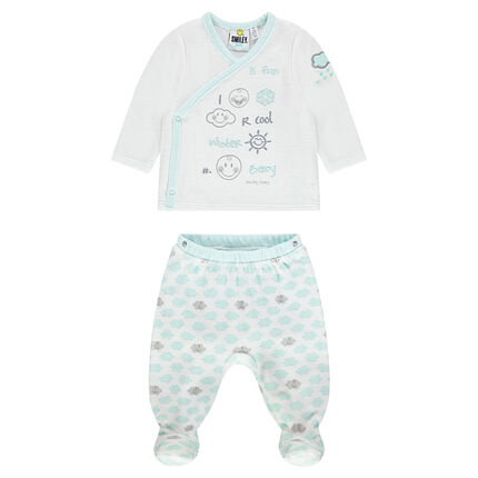 Pyjama en velours print Smiley Baby