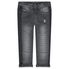 Jeans met used en crinkle-effect en met fantasienagels
