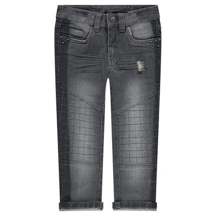 Jeans met used en crinkle-effect en met fantasienagels
