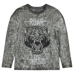Junior - T-shirt met lange mouwen en print met tijger