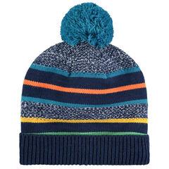 Bonnet en tricot à rayures doublé micropolaire à pompon