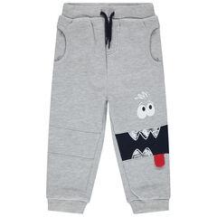 Pantalon de jogging gris chiné avec print monstre , Orchestra